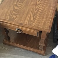 Retro solid dark hard wood coffee table with drawer  St Albert, T8N 1H9