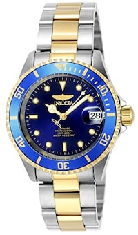 Round blue invicta automatic analog watch with silver link bracelet