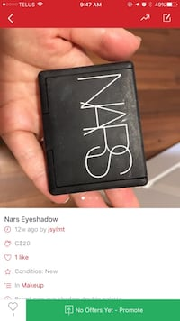 black NARS eye shadow advertisement