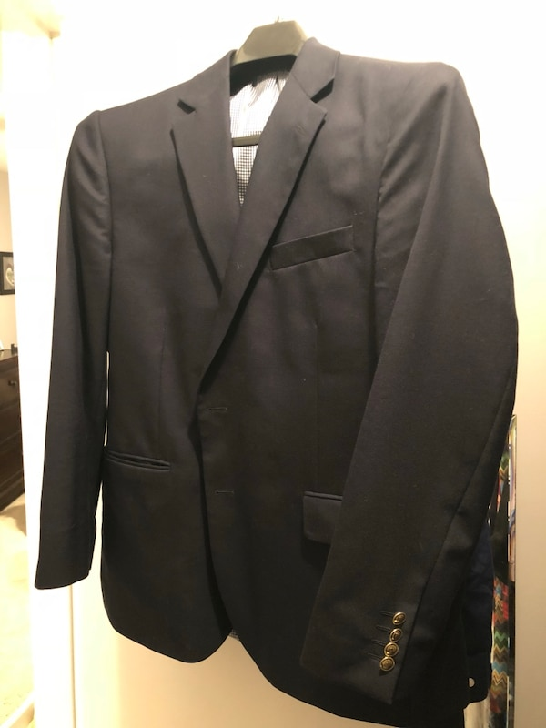Stafford navy blue executive blazer 44r gold buttons classic fit