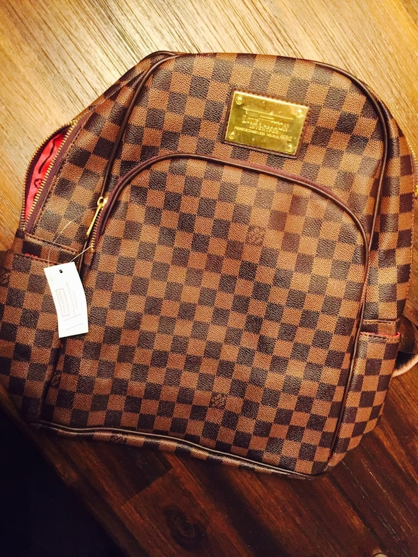 brown and black Louis Vuitton Monogram leather backpack