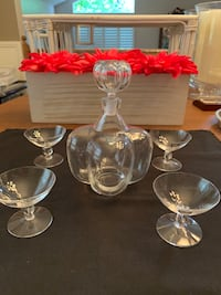 Orrefors decanter and glasses