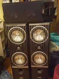 black and silver home speaker