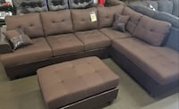 Brand new brown linen sectional with ottoman  Silver Spring, 20902