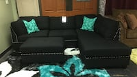 Fabric Sectional with Nailheads and ottoman.
