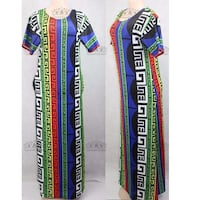 white and multicolored scoop-neck short sleeve long dress