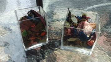Clear Glass Vases Filled w/Potpourri $3 only