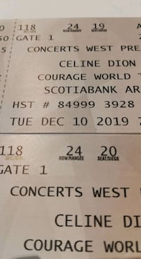 BELOW COST! Celine Dion tickets - Tues, Dec. 10th - section 118 Toronto, M5E 1B3