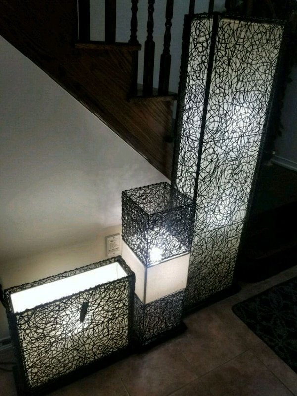 Basket weave floor lamps