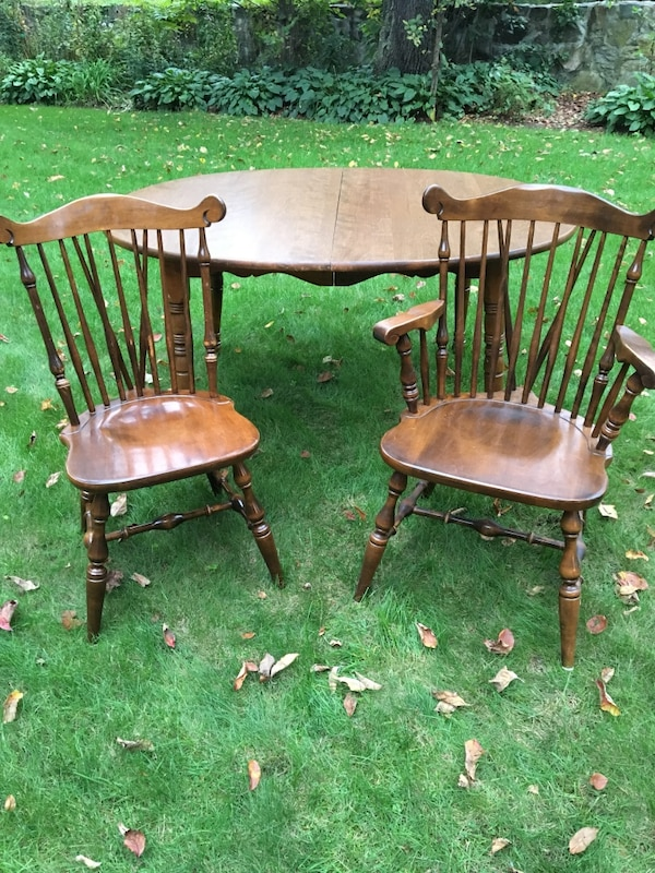 Used Vintage Temple Stuart Dining Table 4 Windsor Chairs Rockport Maple For In Holliston
