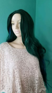 Green and blue Japanese fiber long wig