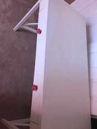 White wooden desk with red leather rolling chair Ashburn, 20147