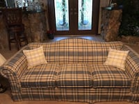 Bassett 3 cushion. Sofa.   Excellent condition, blue and creme plaid fabric. Also other living room furniture . Fruitland Park, 34731
