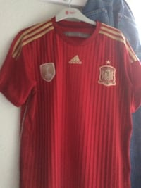 red and brown adidas t shirt null
