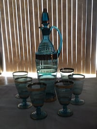 blue set 6 glasses with bottle Mississauga, L5A 2X7