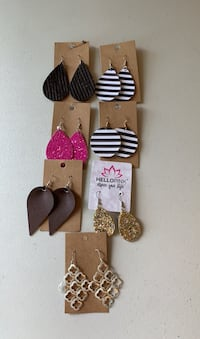 Earrings - leather, glitter and Stella & Dot