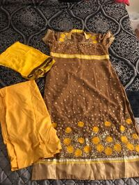 Beautiful sequence and embroidery work on brown and yellow color combination suit Des Plaines, 60016