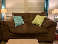 Brown suede overstuffed love seat + couch