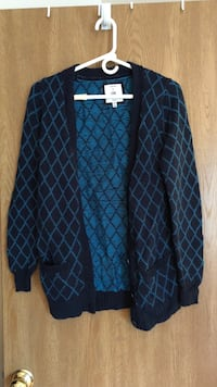 blue and black grid button-up cardigan Gurnee, 60031