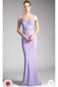 Brand New Lilac Long Off-Shoulder Fitted Dress With Lace Bodice  London, N6G 1B3