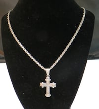 """24"""" CZ Cubic Zirconia Cross .925 Sterling Silver Rope Necklace Chain Pendant   Syracuse"""