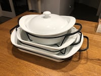 3 White cooking/serving dishes