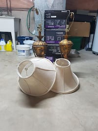two brown and white table lamps
