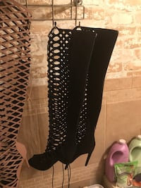 Olivia. Cut out holes, peep toe, over the knee high boot, size 6. New never worn, black Memphis, 38125