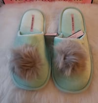 pair of gray-and-white fur slide sandals Piedmont, 94611