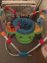 Blue, orange, and blue jumperoo
