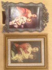 Two Madonna and child paintings with frames