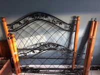 Full wood and iron canopy bed with posts