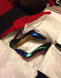Christian Louboutin Degraspike 120 Heel Leather shoes in blue and green ombré with spikes. LIMITED EDITION !!!!