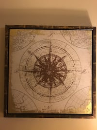 brown compass print with frame wall decor