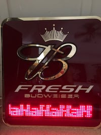 BUDWEISER LIGHT W/ PROGRAMMABLE  ANIMATED LED SCROLL