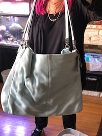 women's white and black leather tote bag