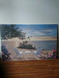 painting of white wooden lounge with table near bo La Prairie, J5R 0H2
