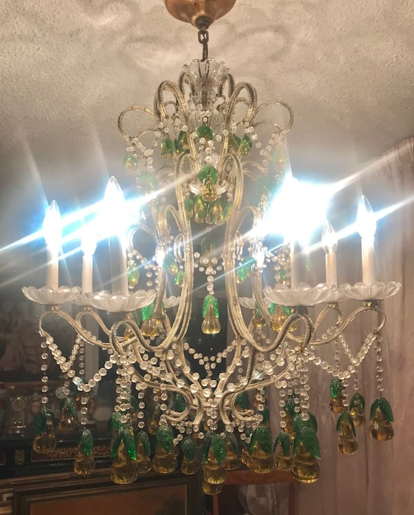 Large antique Italian beaded chandelier with glass pears 06dfd2d0-9d24-42ec-b27e-01a4b20e876c