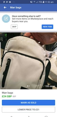 white and black leather backpack Eccles, M30 8LB