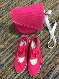 Pair of red-and-white  basketball shoes and hang bag, size 6