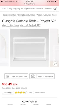 White console table Downey, 90241