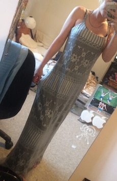 gray maxi dress,slit in the back