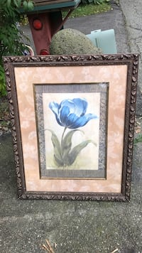 Brown wooden framed painting of blue flower Pompton Lakes, 07442