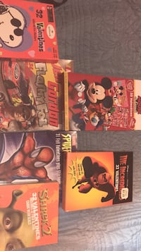 6 Unopened Boxes of Class Valentines-Spider-Man, NASCAR, Incredibles, Mickey Mouse, Snoopy, & Shrek 2 Columbia, 21045
