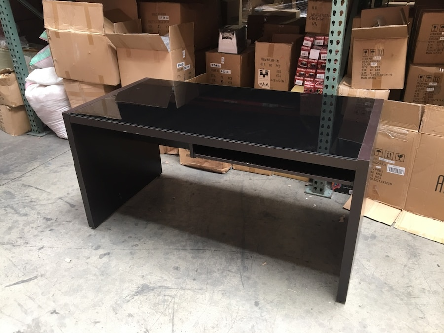 Black Glass Top Computer Office Desk With Side Table