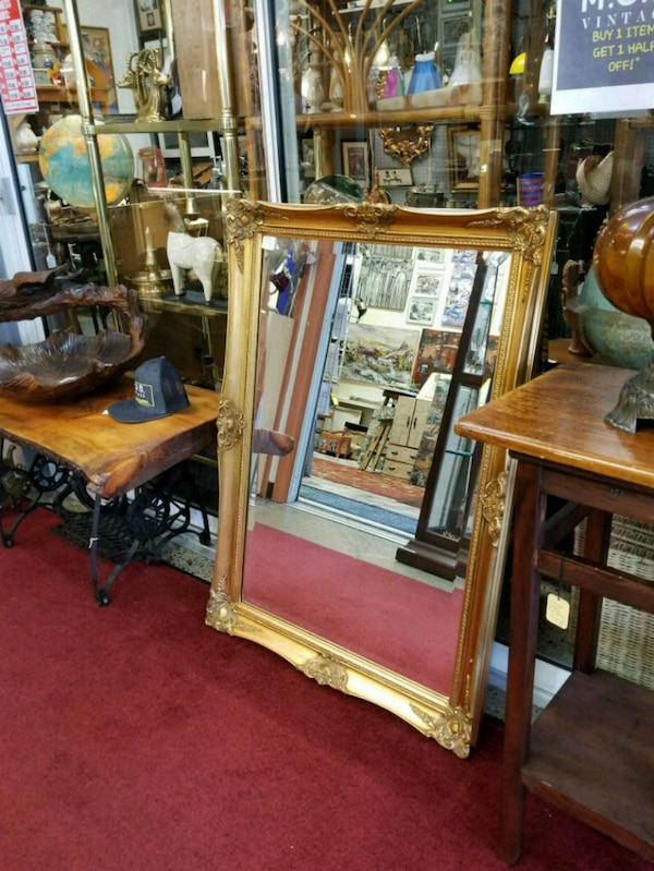 Large Vintage Gold leaf painted wood mirror