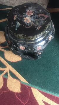 black and red floral ceramic jar with lid