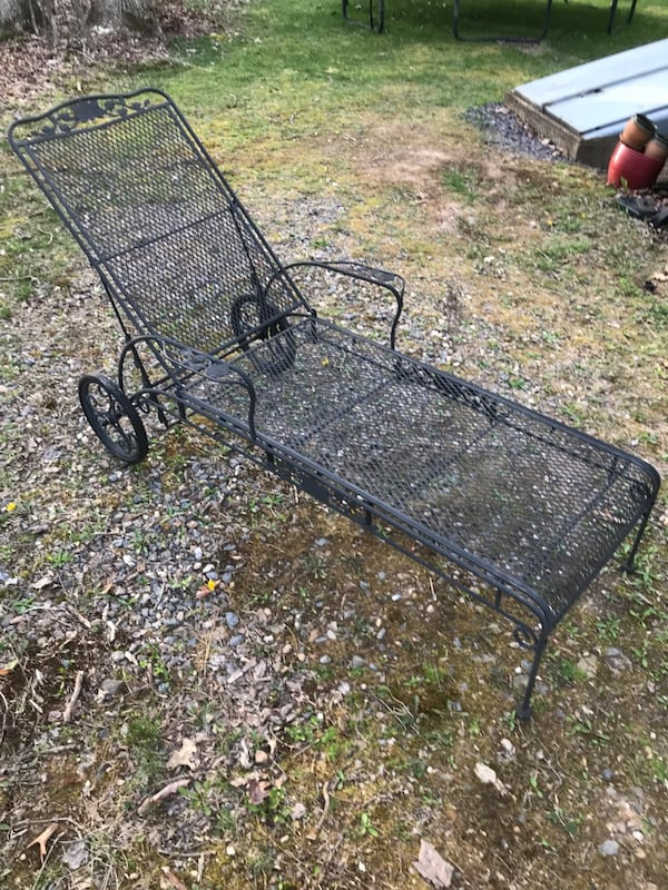 Used Wrought Iron Outdoor Chaise Lounge