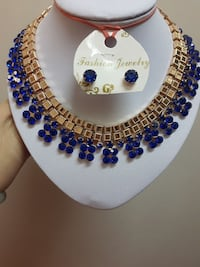 gold and blue chunky necklace