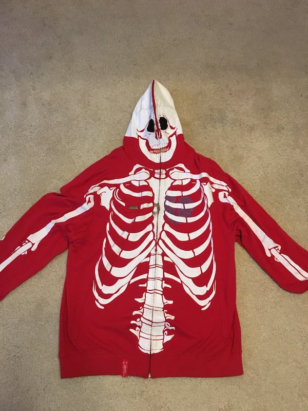 Used Super Rare Lrg Dead Serious Skeleton Hoodie For Sale In